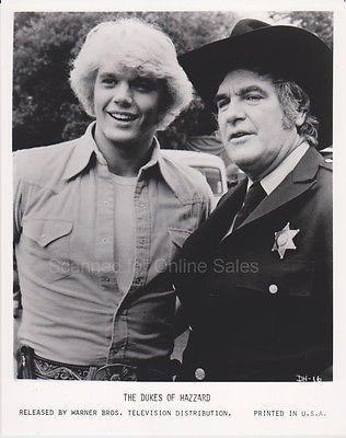 Dukes of Hazard John Schneider Bo with Sheriff Roscoe Coltrane James Best 8x10 P