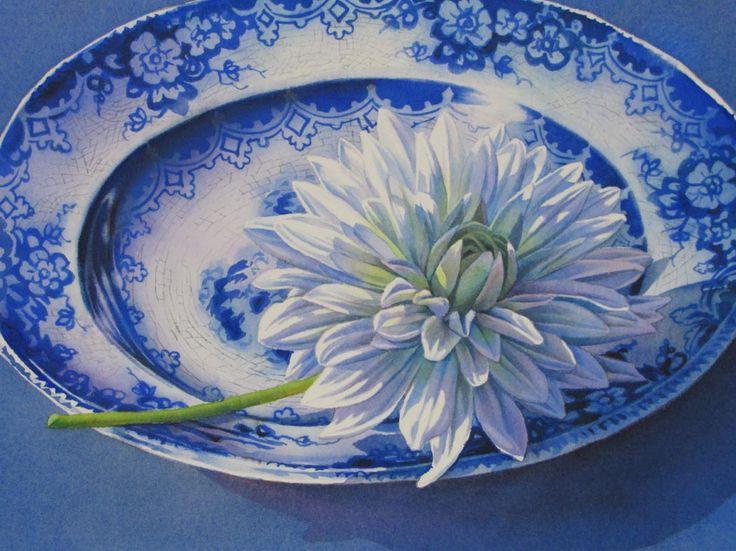 FLOW BLUE CRYSANTHEMUM watercolor still life painting