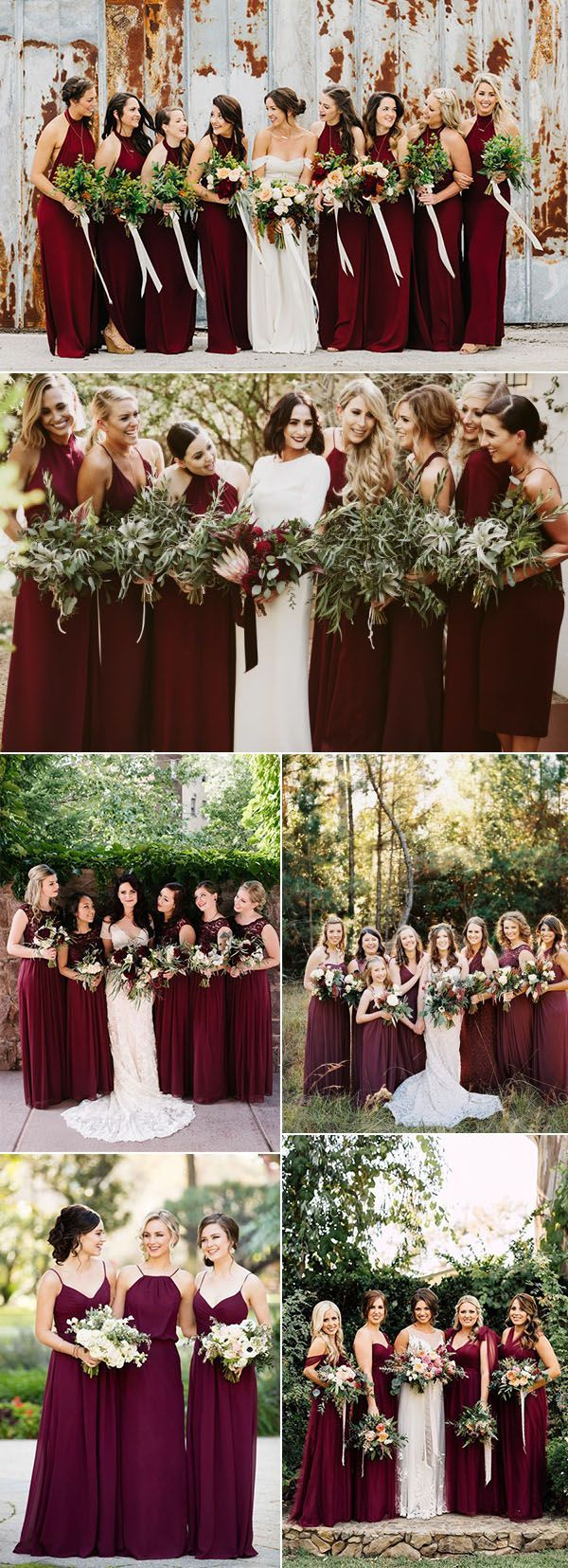 T-length lace wedding dresses november 2018  Refined Burgundy and Marsala Wedding Color Ideas for Fall Brides