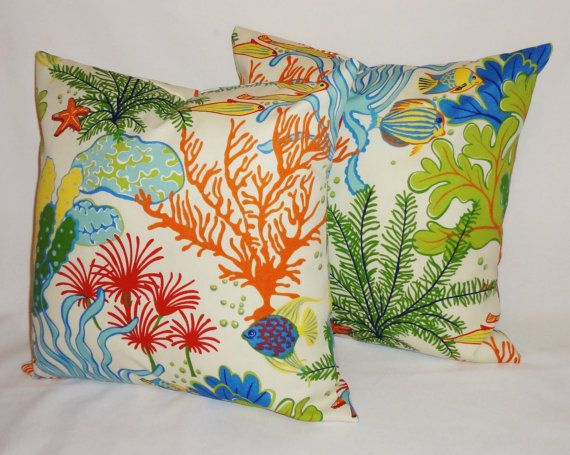 Set Of 2 OUTDOOR Ocean Fish Coral Outdoor Pillow Cushion