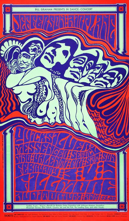 Bill Graham Presents in San Francisco  Jefferson Airplane /Quicksilver Messenger Service / Dino Valenti  February 3-5, 1967, Fillmore Auditorium - San Francisco  Wes Wilson