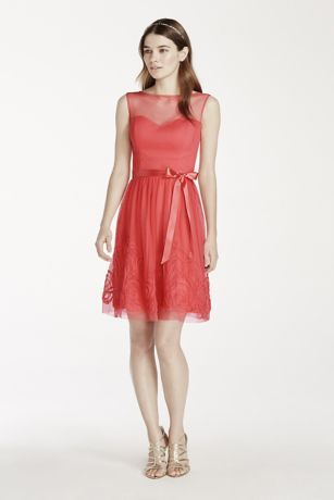 Ultra-feminine and beautifully detailed, this illusion neckline dress is absolutely lovely!  Sleeveless sweetheart bodice features chic illusion neckline.  Satin belt at waist helps create a stunning silhouette.  Intricate soutache skirt detail finishes off the look.  Fully lined. Back zip. Imported polyester. Dry clean.