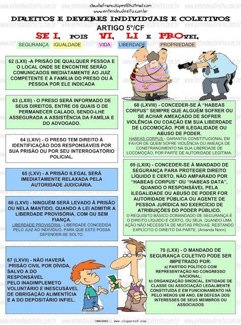 DIREITOS E DEVERES INDIVIDUAIS E COLETIVOS - ARTIGO 5°/CF
