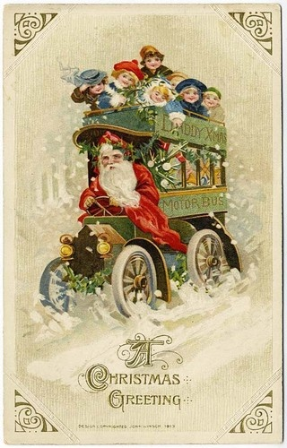 Santa Clause driving bus of children postcard - 1913