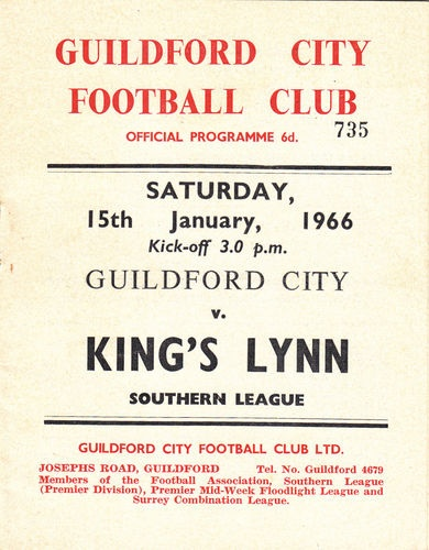 Away to Guildford City Southern League 15 Jan 66