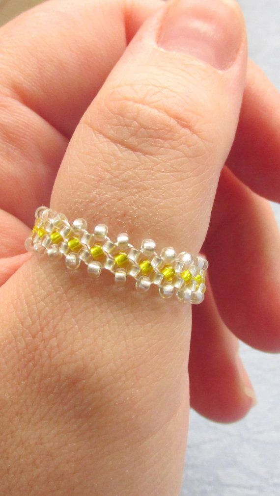This beaded thumb ring is beadwoven with high quality Japanese yellow and silver seed beads and high quality Japanese beading thread.
