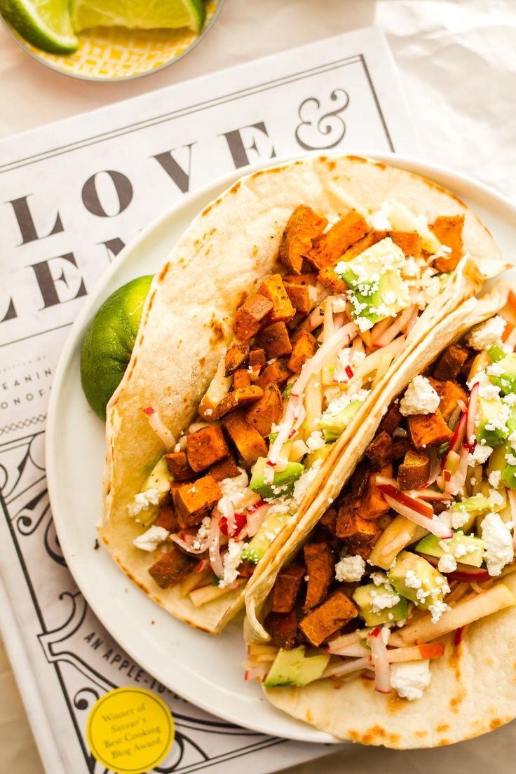 Sweet Potato Tacos with Apple Radish Slaw | Cake Over Steak