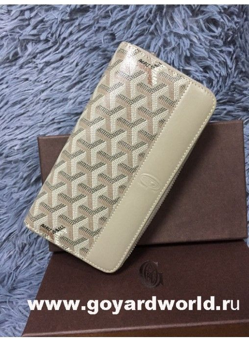 Goyard Matignon Zip Around Long Wallet Grey