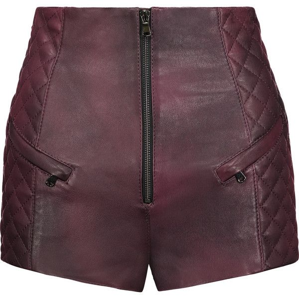 Pierre Balmain - Quilted Leather Shorts ($781) ❤ liked on Polyvore featuring shorts, burgundy, burgundy shorts, pierre balmain, tailored shorts, zipper shorts and zipper pocket shorts