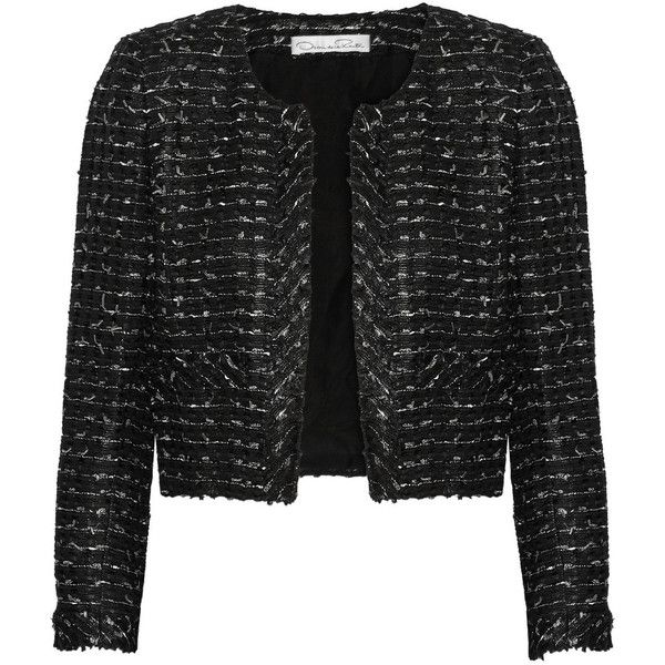 Oscar de la Renta Cropped bouclé-tweed jacket (28.710 UYU) ❤ liked on Polyvore featuring outerwear, jackets, black, black jacket, black tweed jacket, tweed jacket, cropped jacket and open front jacket