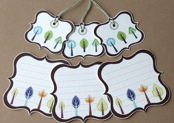 Cuatrifolio árbol Journaling bloques con emparejar Mini Prestrung etiquetas - Set de 6 - Scrapbooking, Cardmaking, embalaje, Giftgiving