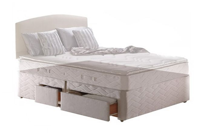 Sealy Base Only Divan Silver Platform Top - British Bed Stores