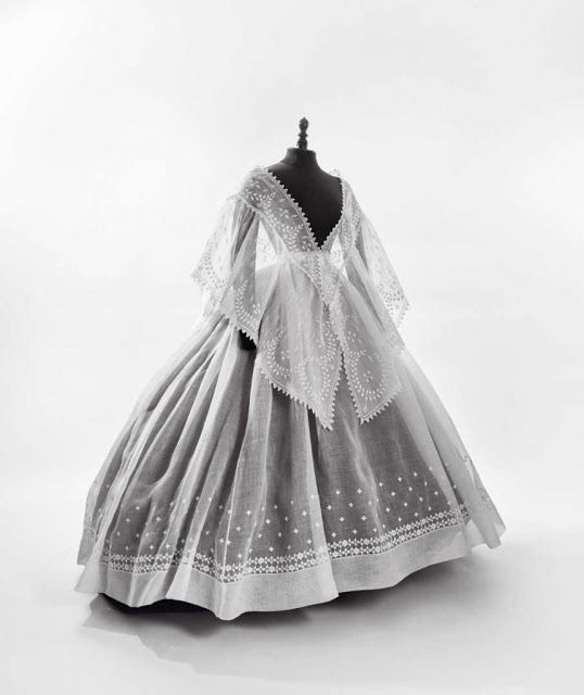 Crinoline-era skirt and fichu, 1865-70 | In the Swan's Shadow