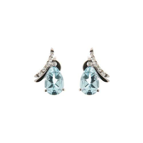 Orecchini in oro bianco con diamanti naturali e acquamarina - OR0513