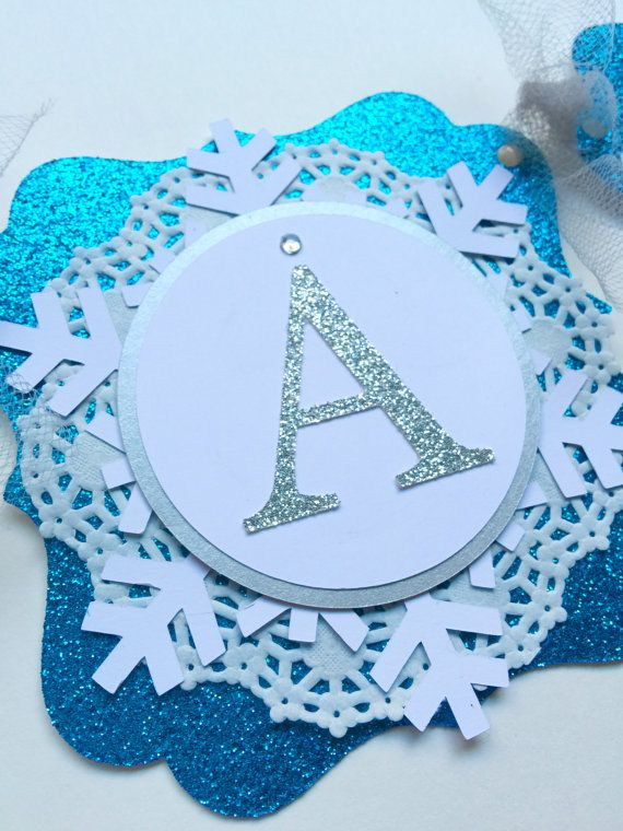 FROZEN glitter snowflake Happy Birthday banner by papermeblossom