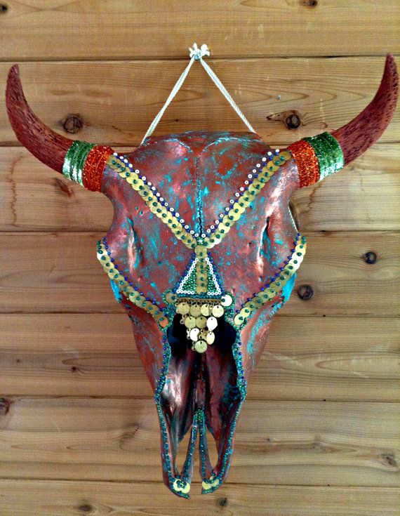 Real bison taxidermy skull hand painted in by ITsARTbySNOWBEE