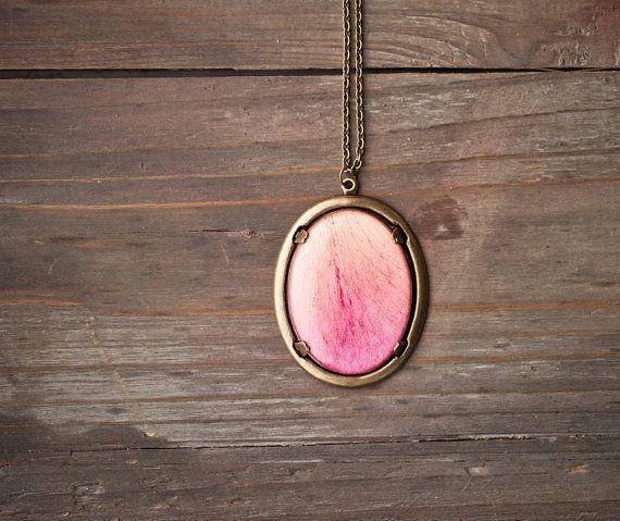 Pink Peony statement necklace Huge oval pendant by BeautySpot