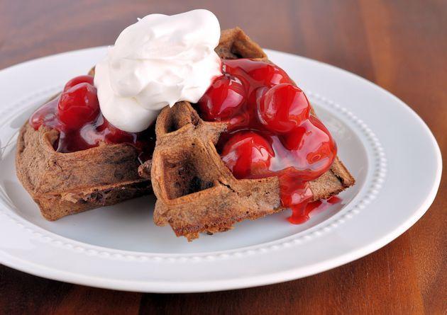 Cherry Chocolate Belgian Waffles Recipe: Cherries Chocolates, Cherries Recipes, Pies Tops, Chocolates Belgian, Belgian Waffles Recipes, Cherries Waffles, Chocolates Cherries, Whipped Cream, Cherries Pies