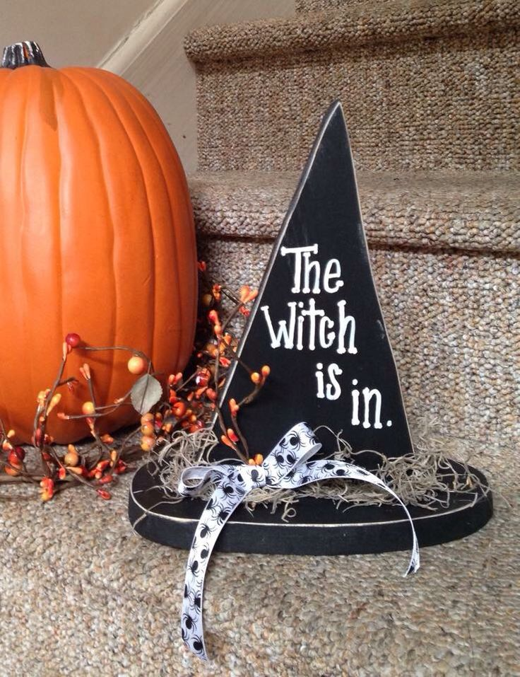 Wooden witch hat fall decor Halloween