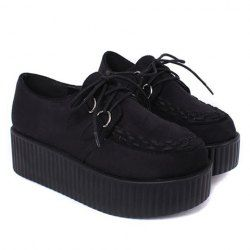 Stylish Women's Platform Shoes With Lace-Up and Weaving Design (BLACK,38)   Sammydress.com