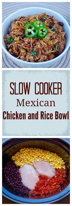 Slow Cooker Mexican Chicken and Rice Bowl. Packed full of protein, super easy…
