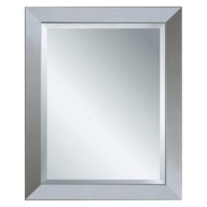 deco mirror 40 in x 28 in modern wall mirror in brushed nickel 6200