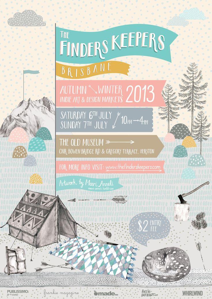 BRISBANE Flyer for Finders Keepers Markets A/W 2013 by Meeri Anneli