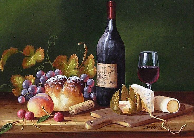 Schilderij stilleven - Jenny Meijer - Brood en wijn - Olieverf op paneel - 20 x 26 cm. -