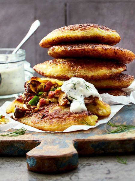 Hast du schon mal herzhafte #Pfannkuchen probiert? Dieses Rezept mit frischen #Champignons hat Potenzial zum neuen #Lieblingsessen!