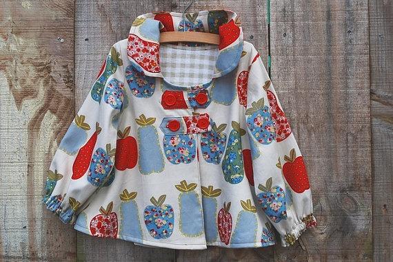 Girl's Spring/Summer Swing Coat Jacket in Fruit print in by oKIDDo, $60.00