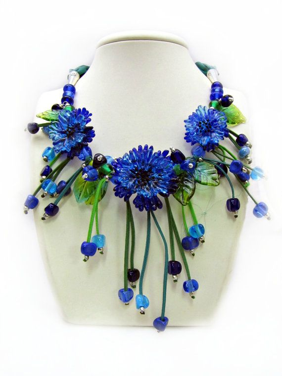 Cornflowers Necklace Blue necklaces on silk by SelinaGlass on Etsy