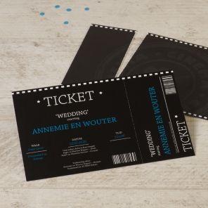 Cinematicket | Tadaaz #zwart #blauw #afscheurstrook #origineel #huwelijk #trouw #uitnodiging #thema