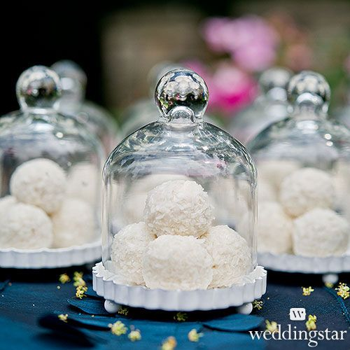 Miniature Glass Bell Jar with White Fluted Base - Weddingstar: 3 for $24.00