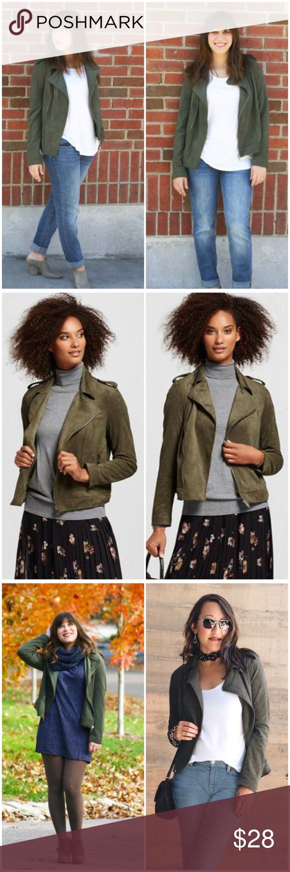 🦋HP🦋 Who What Wear Green Faux Suede Moto Jacket New Womens Who What Wear by Target Green Faux Suede Moto Mod Jacket NWOT  • Size L • New without tags • Green faux suede zip Moto jacket • 15.5 inch shoulders  • 21 inch bust  • 22.5 inch length  • 17.5 inch sleeve inseam • 87% polyester 13% spandex • Fully lined • Two zippered pockets • Jacket is new without tags, one pin point imperfection on the back of the right sleeve is pictured, otherwise in excellent new condition Who What Wear…
