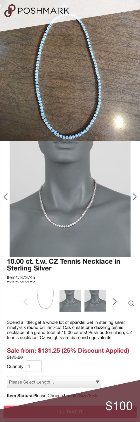 10 carat cz tennis necklace in Sterling Silver Ross Simons jewelry store, 10.00 carats of cz set in 925 Sterling silver, push clap with lock.  Perfect condition.  A little too fancy for me, great for parties of an everyday look 👀. 16 inches long ross simons Jewelry Necklaces
