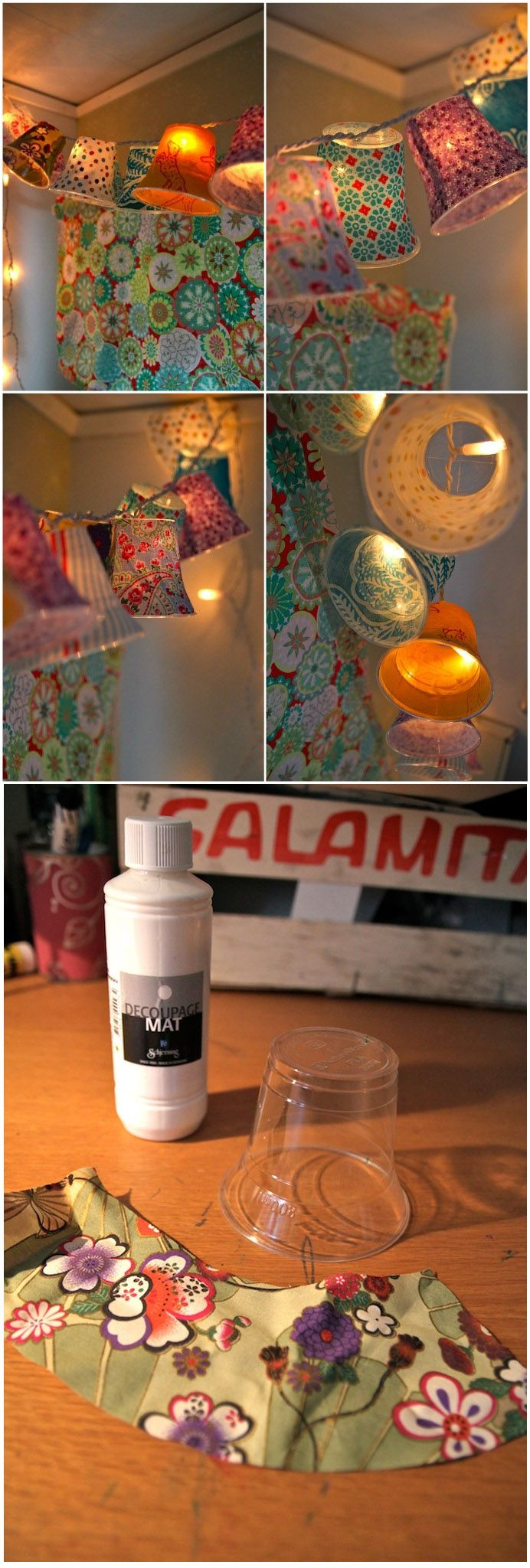 Plastic cup pendant lamps. // guirlande de lumière avec des gobelets et du tissu ( http://rebeccasdiy.blogspot.ca/2011/12/diy-ljusslinga-med-lampskarmar.html )