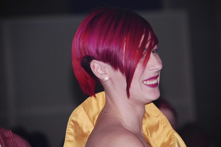 Extreme haircut with a Fiery Red...