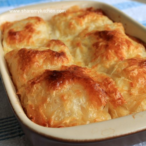 Banitsa! One of my favorites from my Bulgarian summer.The more cheese and eggs used the better.Put some butter on the top to melt .