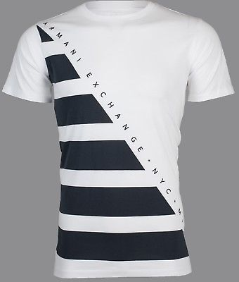 ARMANI EXCHANGE Mens T-Shirt DIAGONAL STRIPE Premium WHITE NAVY Designer $45 NWT