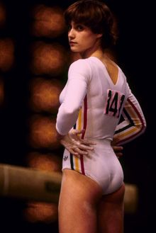 1976 Olympics Montreal     When the Games  got started they were quickly stolen by 14-year-old Romanian gymnast Nadia Comaneci, who scored seven perfect 10s on her way to three gold medals.    East Germany's Kornelia Ender did Comaneci one better, winning four times as the GDR captured 11 of 13 events in women's swimming. John Naber (4 gold) and the U.S. men did the East German women one better when they won 12 of 13 gold medals in swimming.