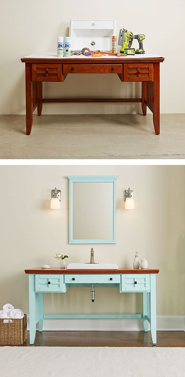 149 best easy diy projects images on pinterest creative ideas diy bathroom vanity made from a desk solutioingenieria Gallery