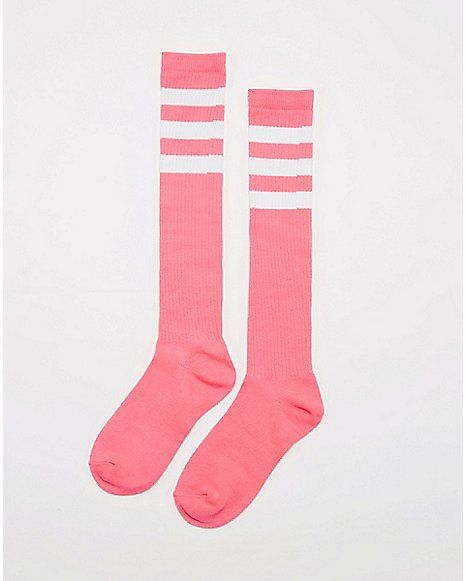 Athletic Stripe Knee High Socks Hot Pink & White - Spencer's