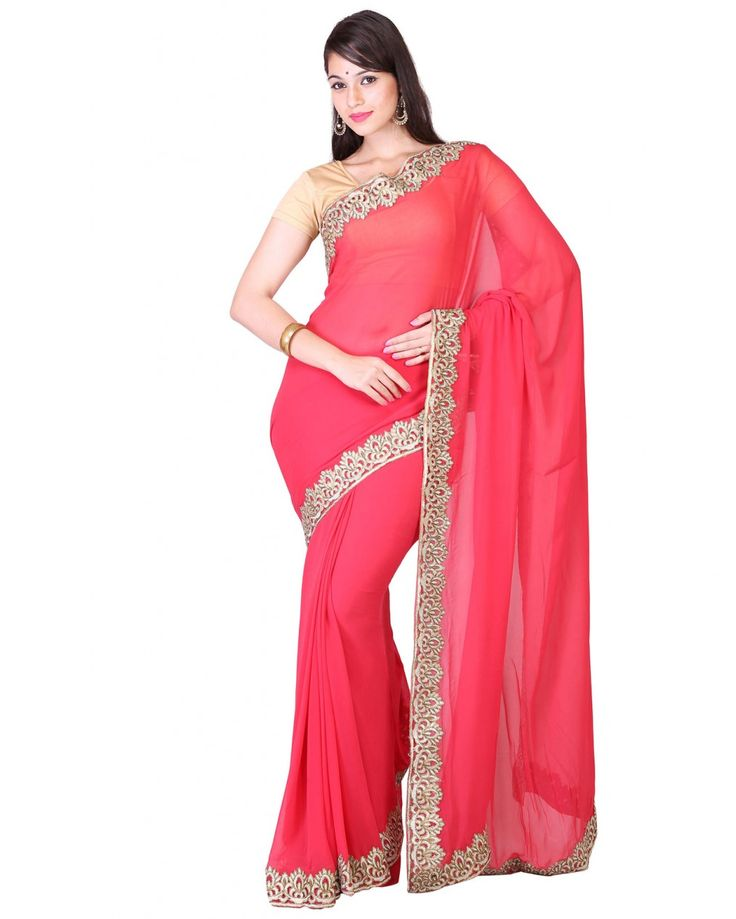 Pure soft georgette saree of 5.5 - 6 meters in length, not inclusive of blouse piece suits for any occasion.