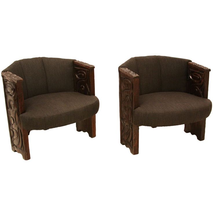 Pair Of Carved Redwood Faceted California Craftsman Chairs