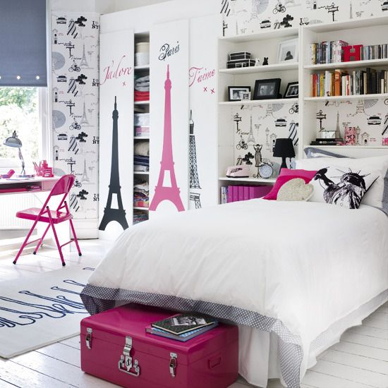 i like the pink and black for a paris theme for a teen girls room #bedroom #decoratm