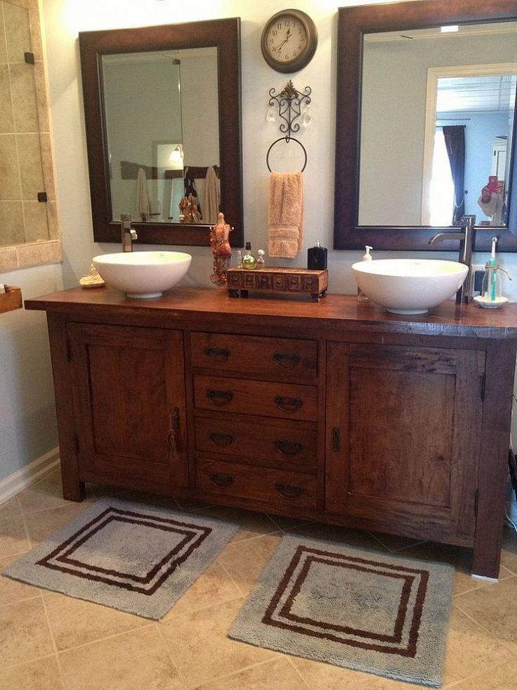 From sideboard buffet to master bathroom vanity for Bathroom vanity sink ideas