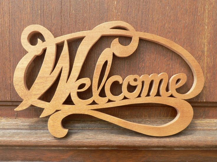Plaque de porte welcome en bois decoupe chantourne for Plaque inox decoupe