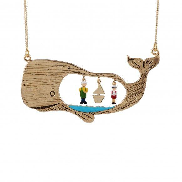 Sautoir Pinocchio & Gepetto dans le ventre de la baleine