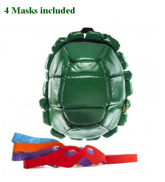Awesome Unique Down Puff Soft Quality Teenage Mutant Ninja Turtle Backpack w/4 Masks