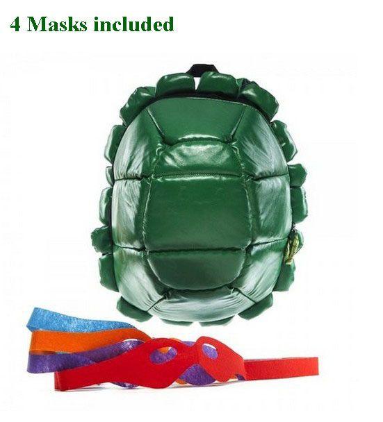 Awesome Unique Down Puff Soft Quality Teenage Mutant Ninja Turtle Backpack w/4 Masks